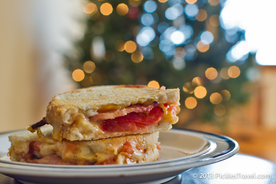 Sandwich in front of the Christmas Tree