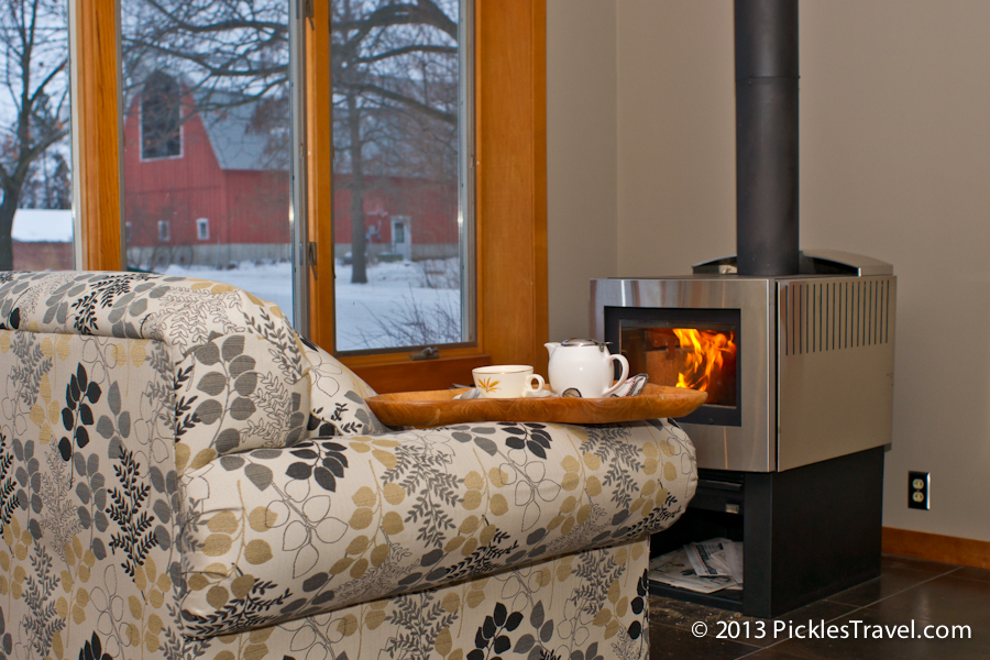 Tea by the Fire with Big Red Barn as a back drop | www.PicklesTravel.com