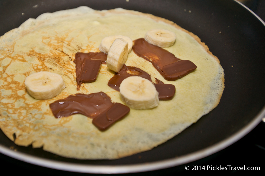 Melted Chocolate & Bananas on crepes