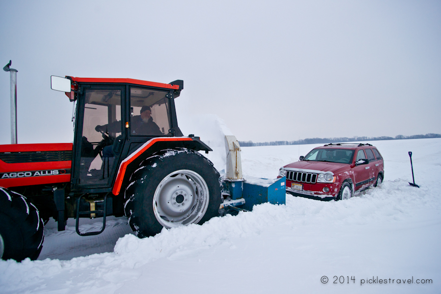 Snow Blower on tractor to rescue
