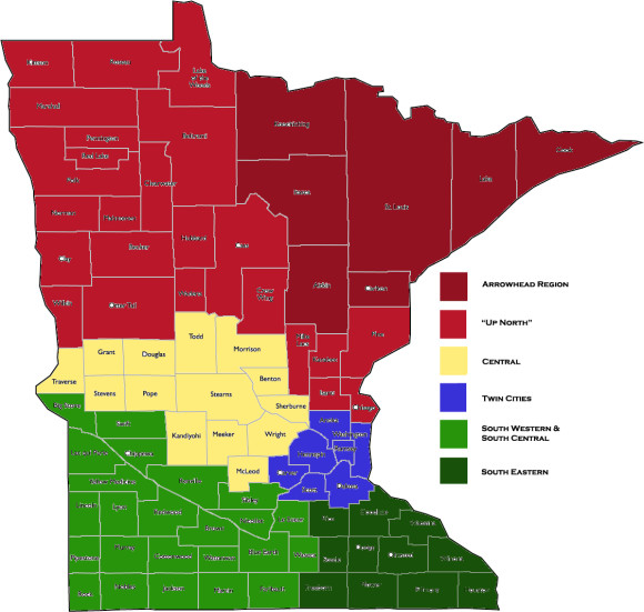 Map of minnesota divided by county and region