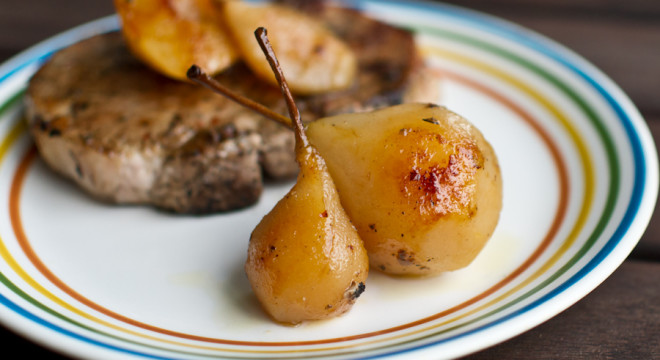 Grilled Pears perfectly compliment a pork chop
