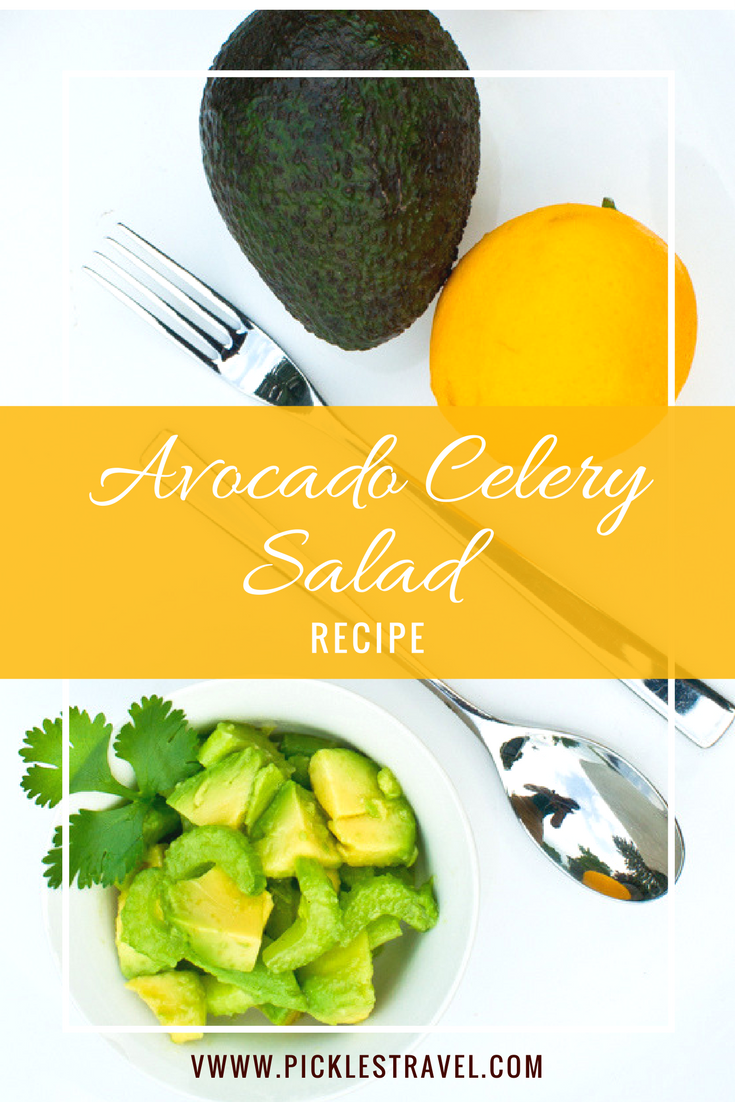 Avocado Celery Salad is a light, easy to make salad that is perfect for spring and summer picnics, tea parties, gatherings or just for lunch. A quick recipe that takes less than 5 minutes to make and even the kids will enjoy eating their vegetables with this one!