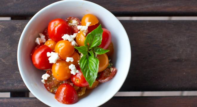 Beautiful Salad ingredients- feta, tomato, basil, salt, pepper and balsamic vinegar