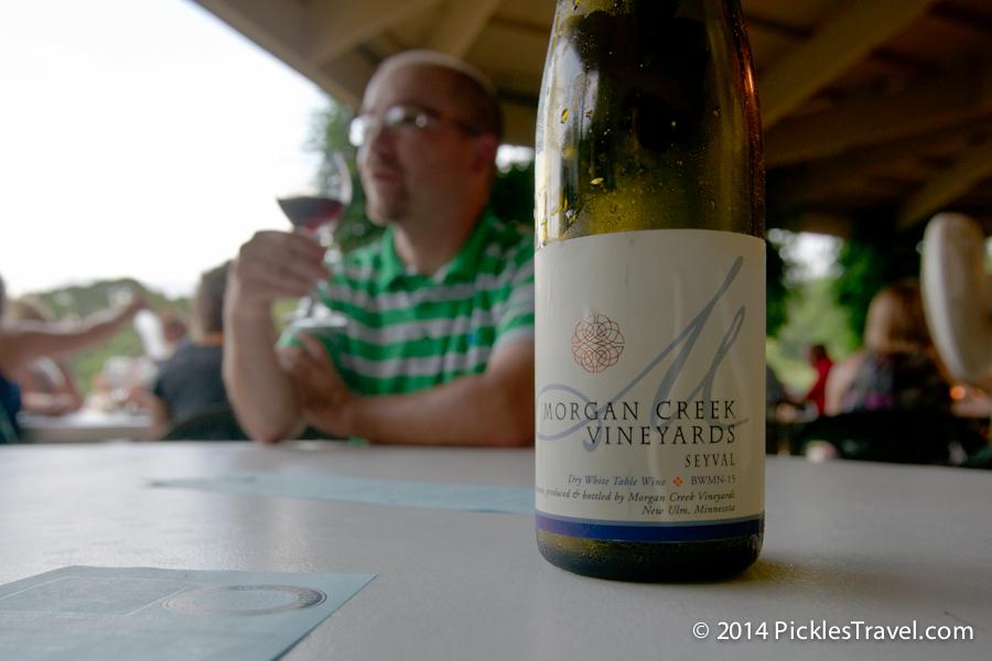 A bottle of morgan creek Seyval wine