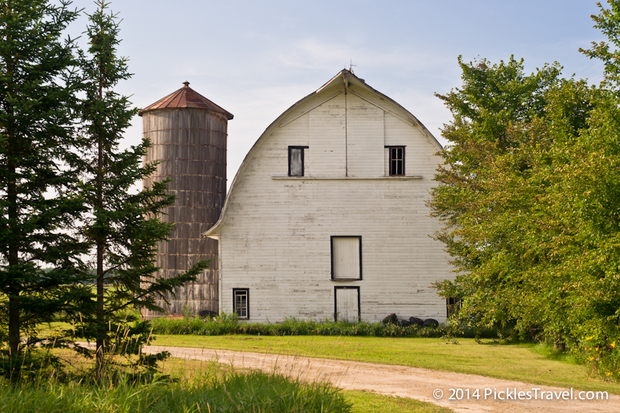 Big white barn and silo beauty