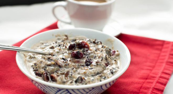 Wild Rice Porridge with dried blueberries