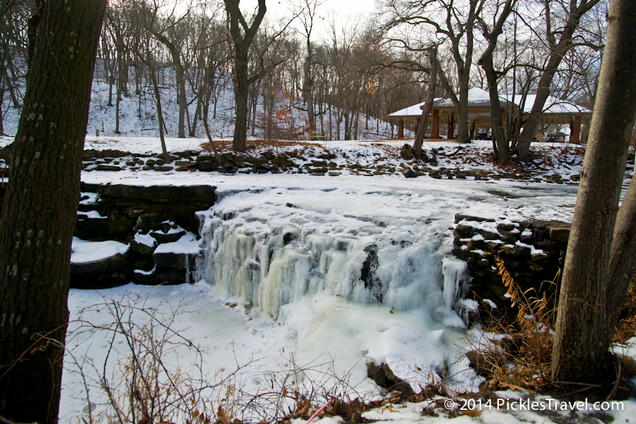 Minneopa Waterfalls frozen over