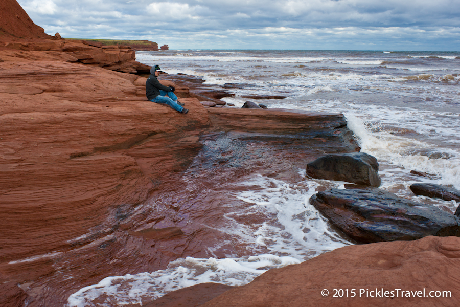 Climb the red sand rocks by French River