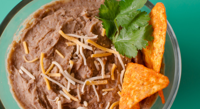 Refried Beans from scratch served as a side dip