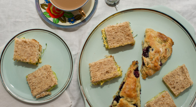 high tea with tea sandwiches & scones