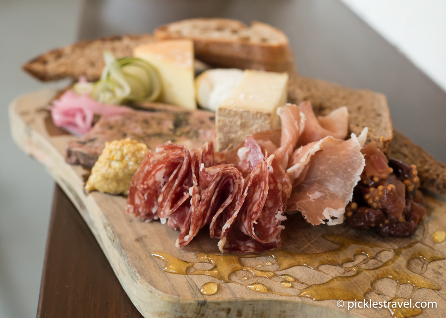 Meat and Cheese plate at The Draft Horse: Including cheese from Lone Grazer Creamery, meat from Red Table Meat, honey from Beez Kneez, Bread from Baker's Field Flour and Bread