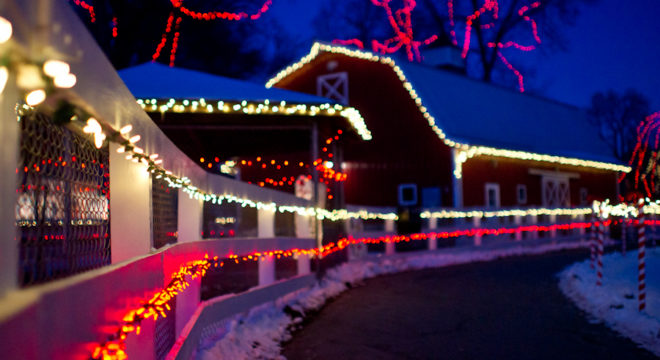 The big red barn at Sibley Park decorated for Kiwanis Holiday Light Display: A colorful Christmas outdoor Holiday Light show by the Kiwanis club in Mankato- on display in Sibley Park- the perfect winter activity for the whole family to enjoy. Click to find out when Santa is available