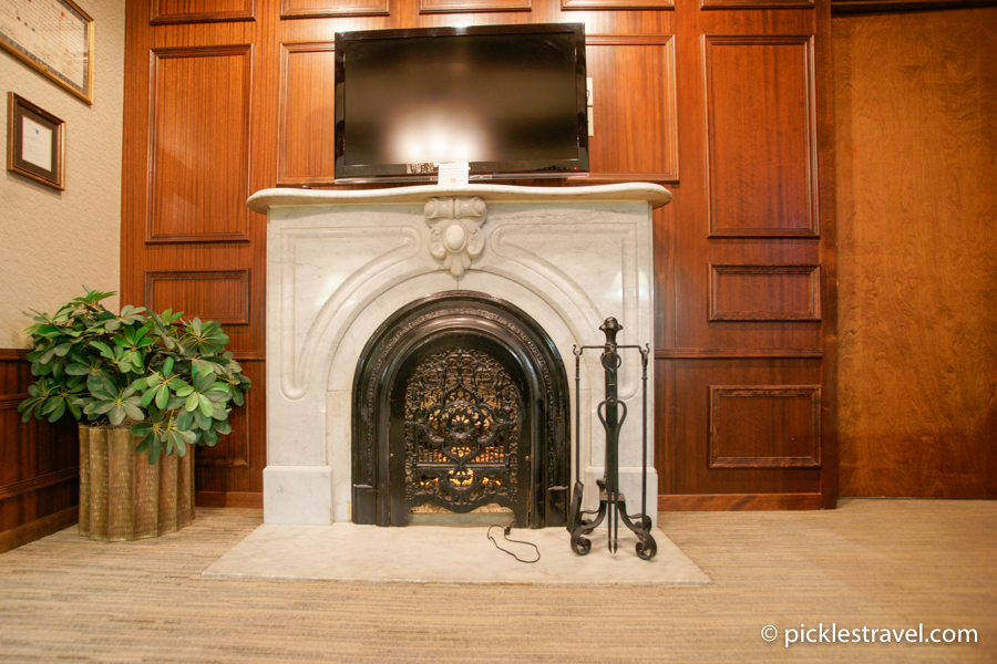 Marble fireplace glow
