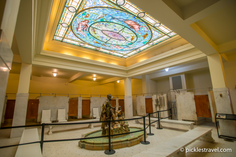 Fordyce Bathhouse Hot Springs National Park mens bath stained glass