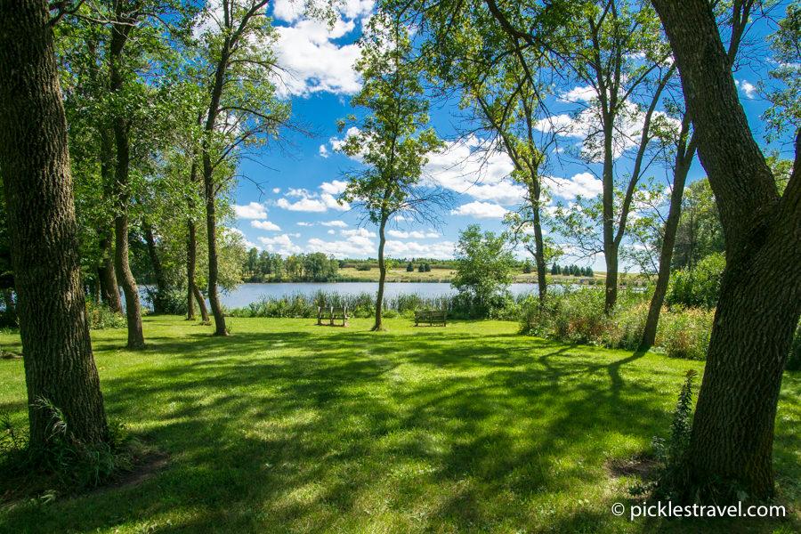 Lake, Dam, Oak trees and vibrant beauty at Split Rock Creek State Park