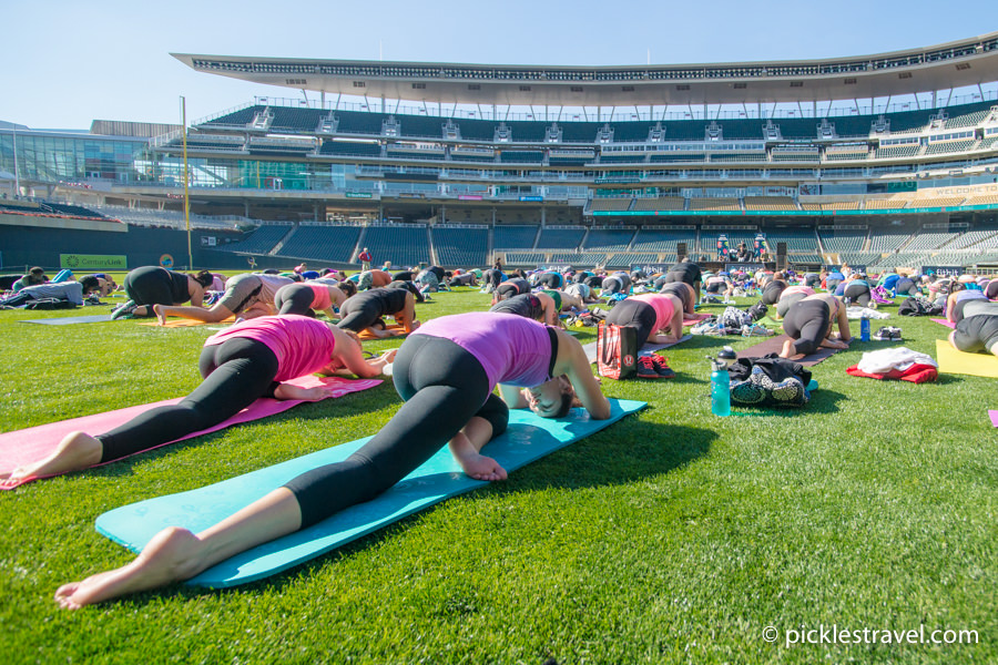 Free Yoga in Target field, Twins Stadium