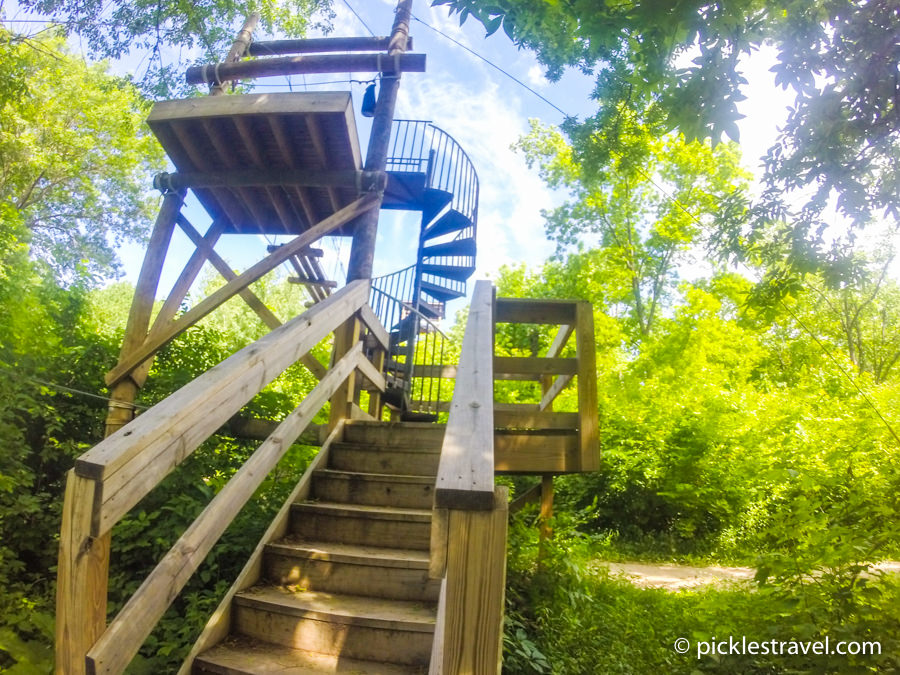 Spiral Staircase at Zip line adventures at Kerfoot Canopy Tour