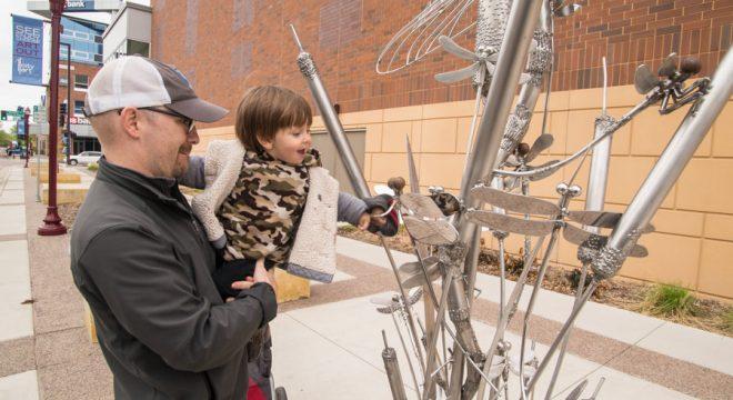 Mankato CityArt Sculpture Walking Tour with kids