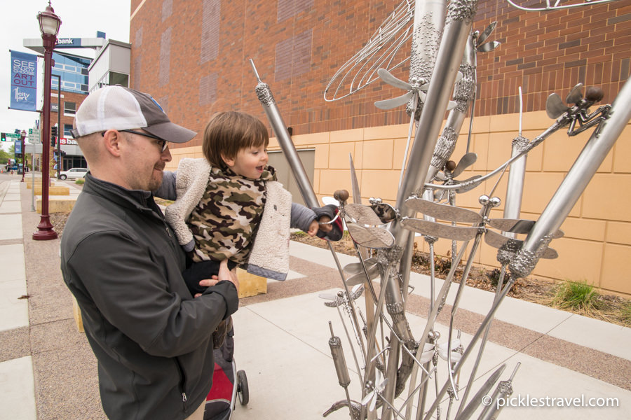 Mankato CityArt Sculpture Walking Tour with kids