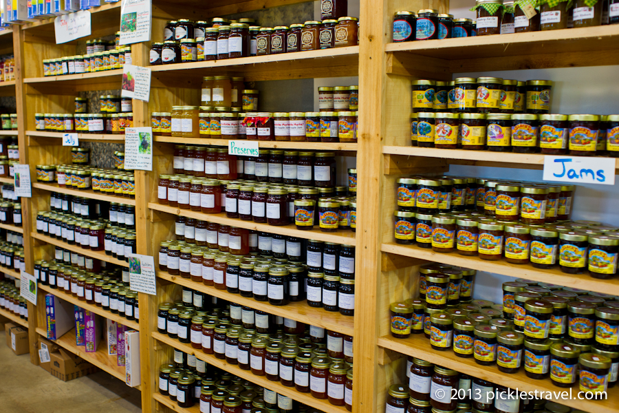 Shelves of Jams, Jellies and Preserves