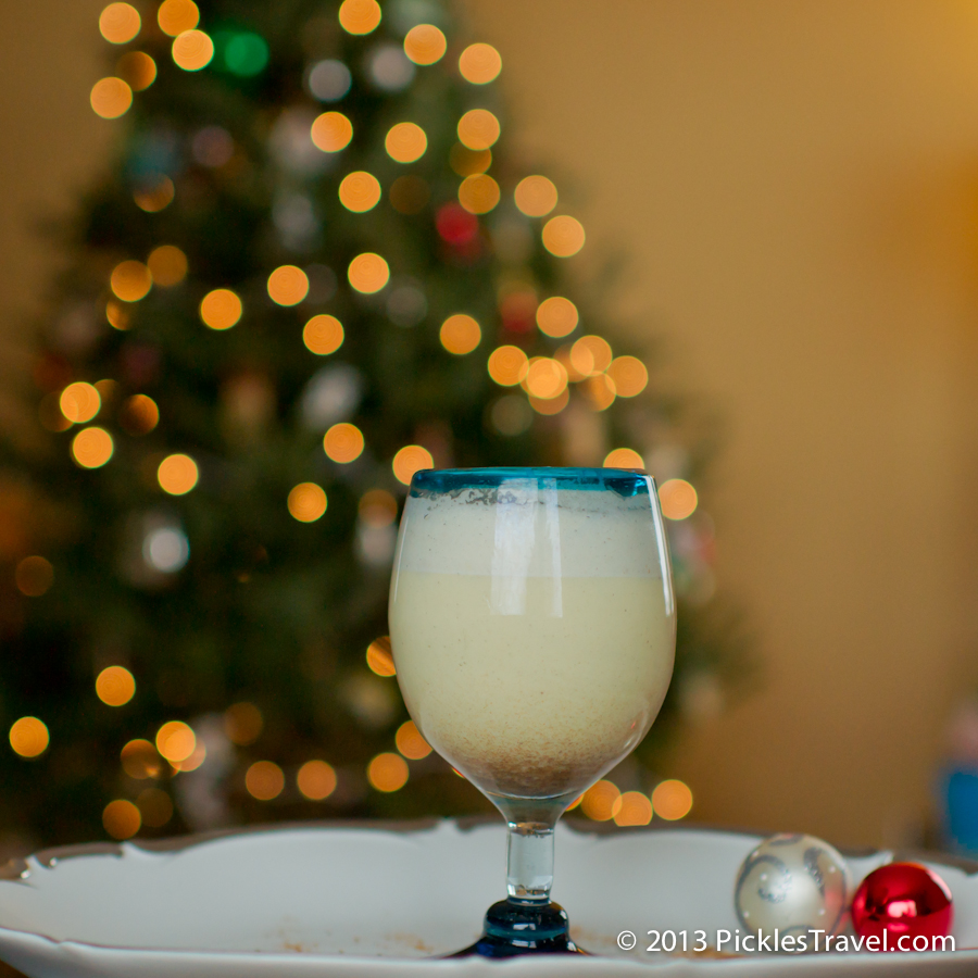 Egg Nog in front of the Christmas Tree