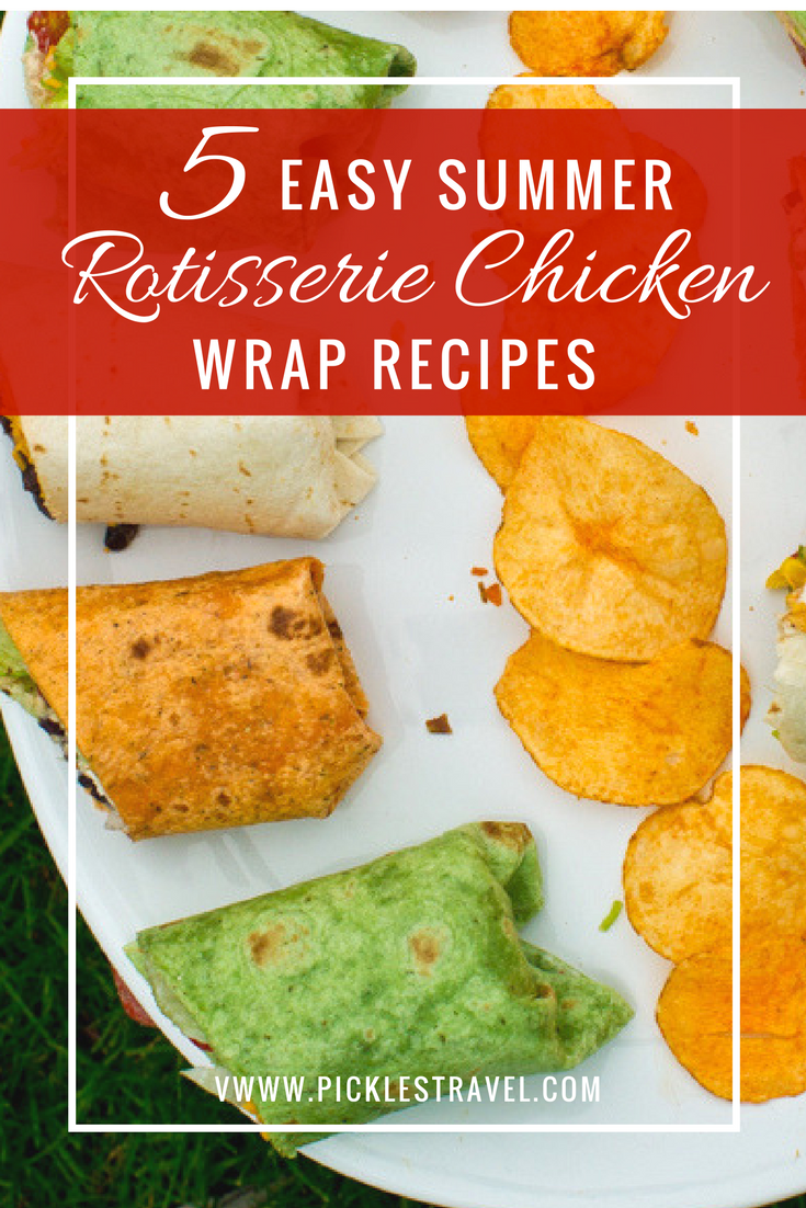 Recipe for 5 incredibly easy and delicious chicken wrap sandwiches using only a few ingredients and shredded chicken. Perfect for picnics and work lunches and easy to make different ones for the kids. Ranch, Bacon, Greek and more flavors
