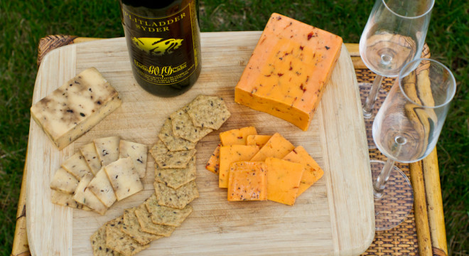 Picnic: Cheese and Cider Plate ready to be enjoyed