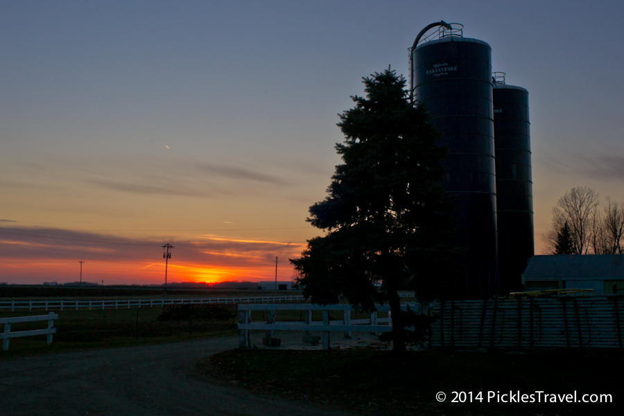 Sunset on the farm at the barn