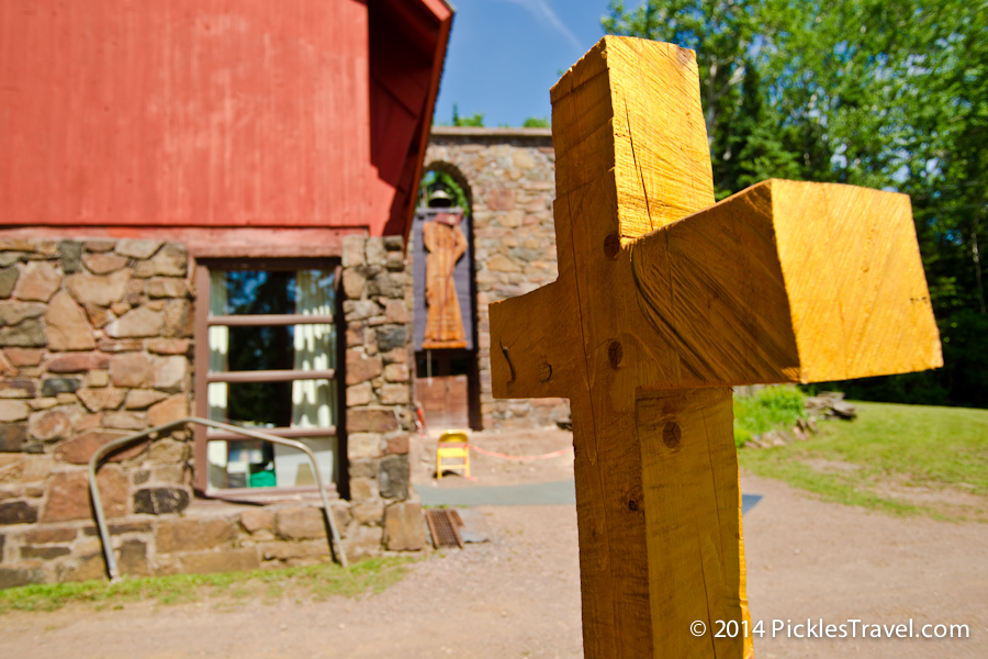 Cross sculpture in front of hovland trinity lutheran church