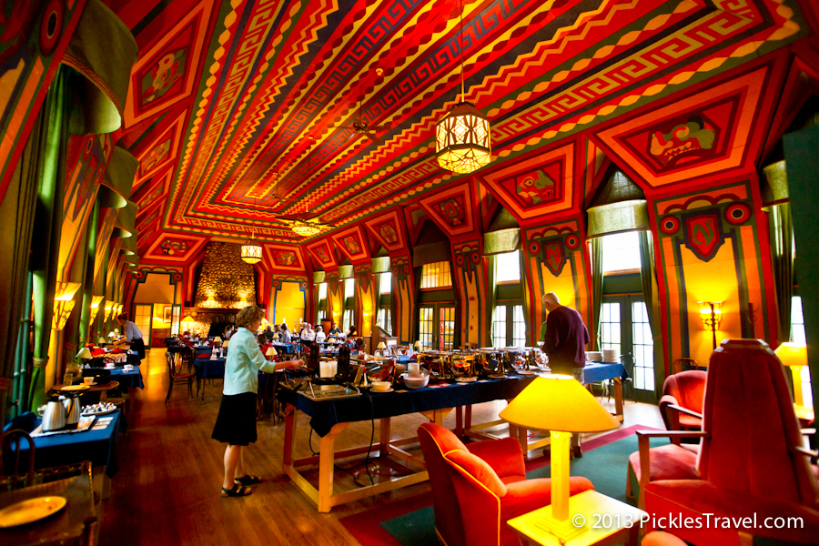 Dining Room length and color at Naniboujou