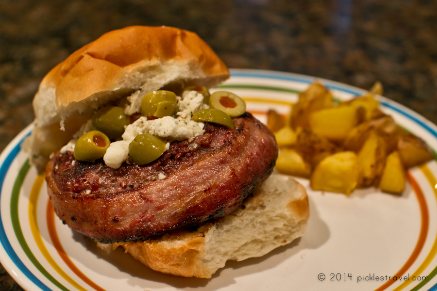 Blue Cheese Juicy Lucy venison burger wrapped in bacon
