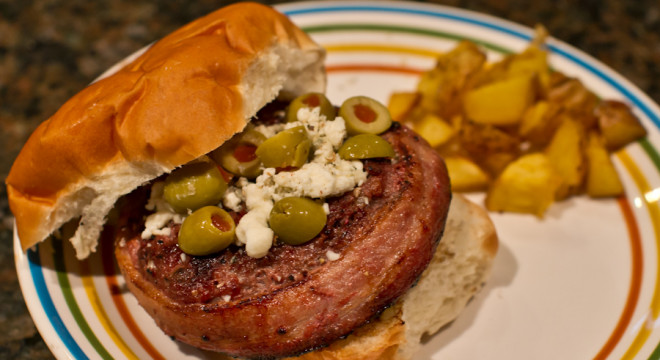 Blue Cheese Juicy Lucy burger with all the fixings