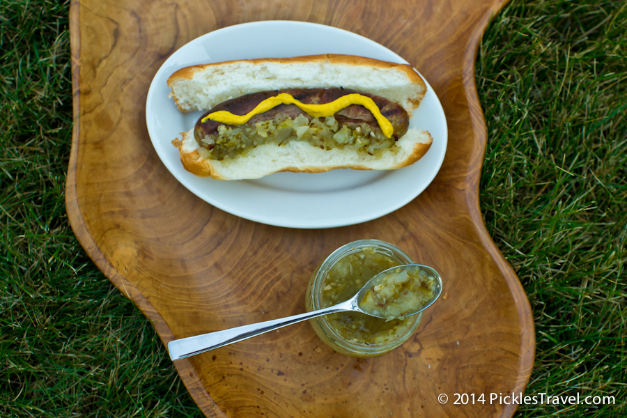 Dill Pickle Relish on a delicious brat