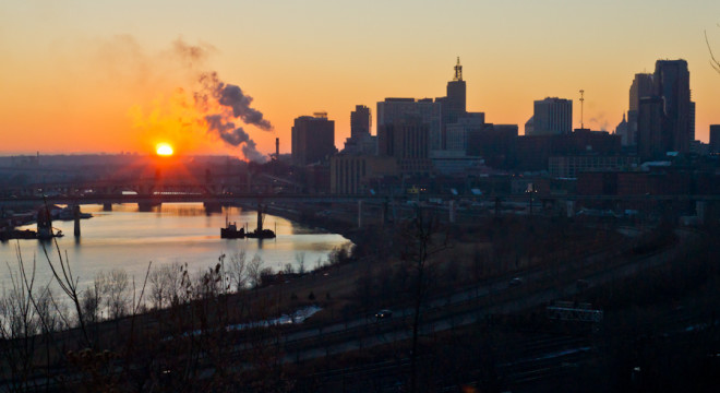 Downtown Saint Paul, MN at sunset from Dayton's Bluff
