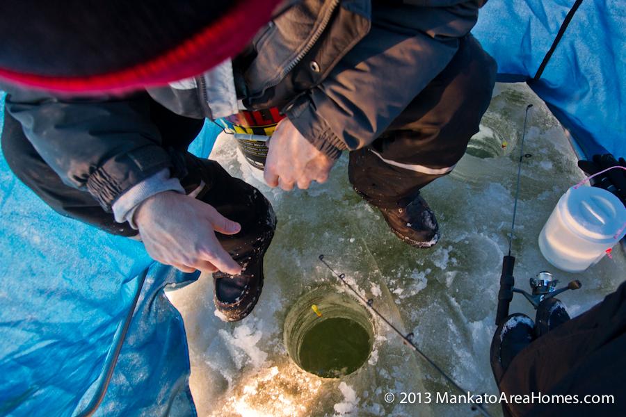 ice fishing on Lake Washington