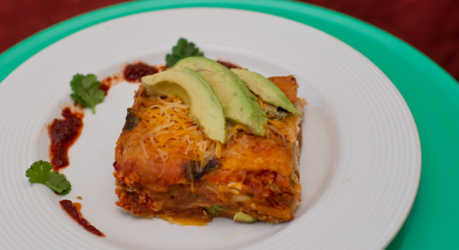 Recipe for Mexican Lasagna, topped with avocados