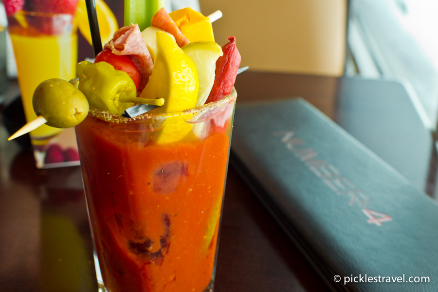 All the toppings in one big glass of bloody mary goodness