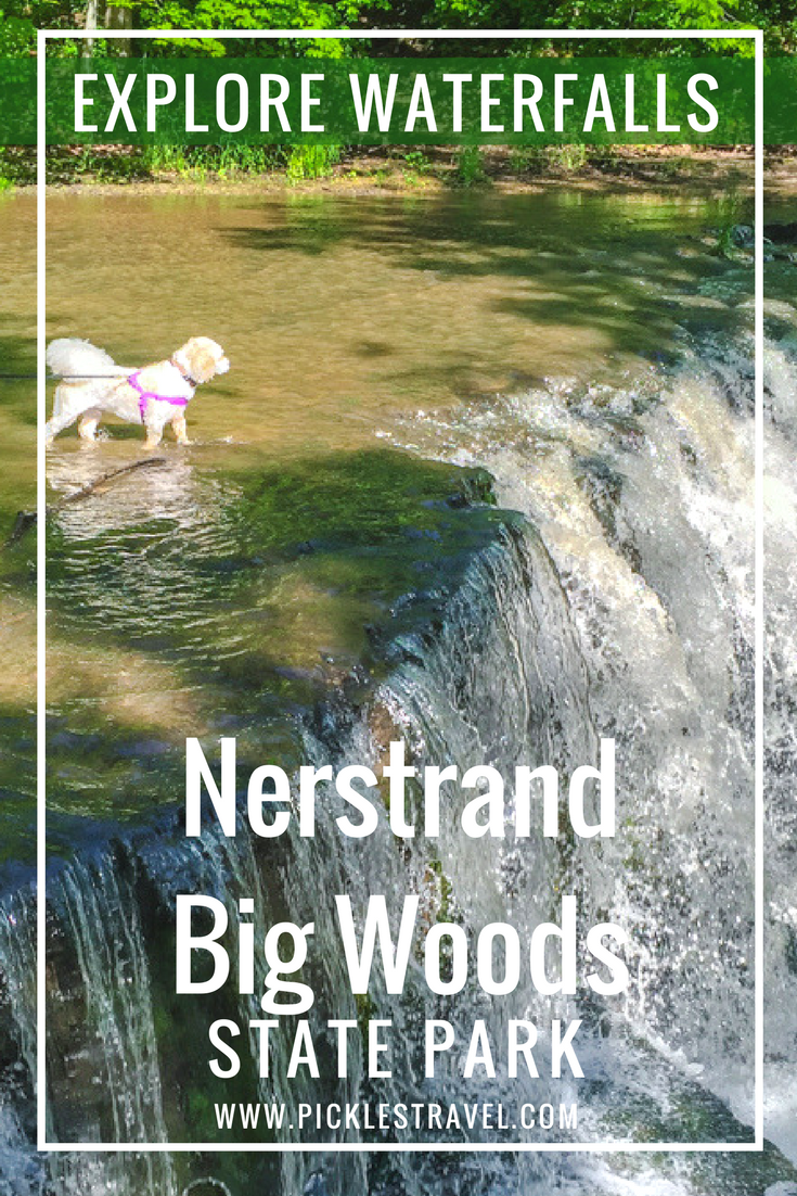 Explore Hidden Waterfalls at this Minnesota state park just south of Minneapolis and St Paul - outside of Northfield. Hike with your dog and kids of all ages and even walk out onto the waterfall for a fun thing to do for the entire family. The perfect day trip or midwest road trip starter from the metro