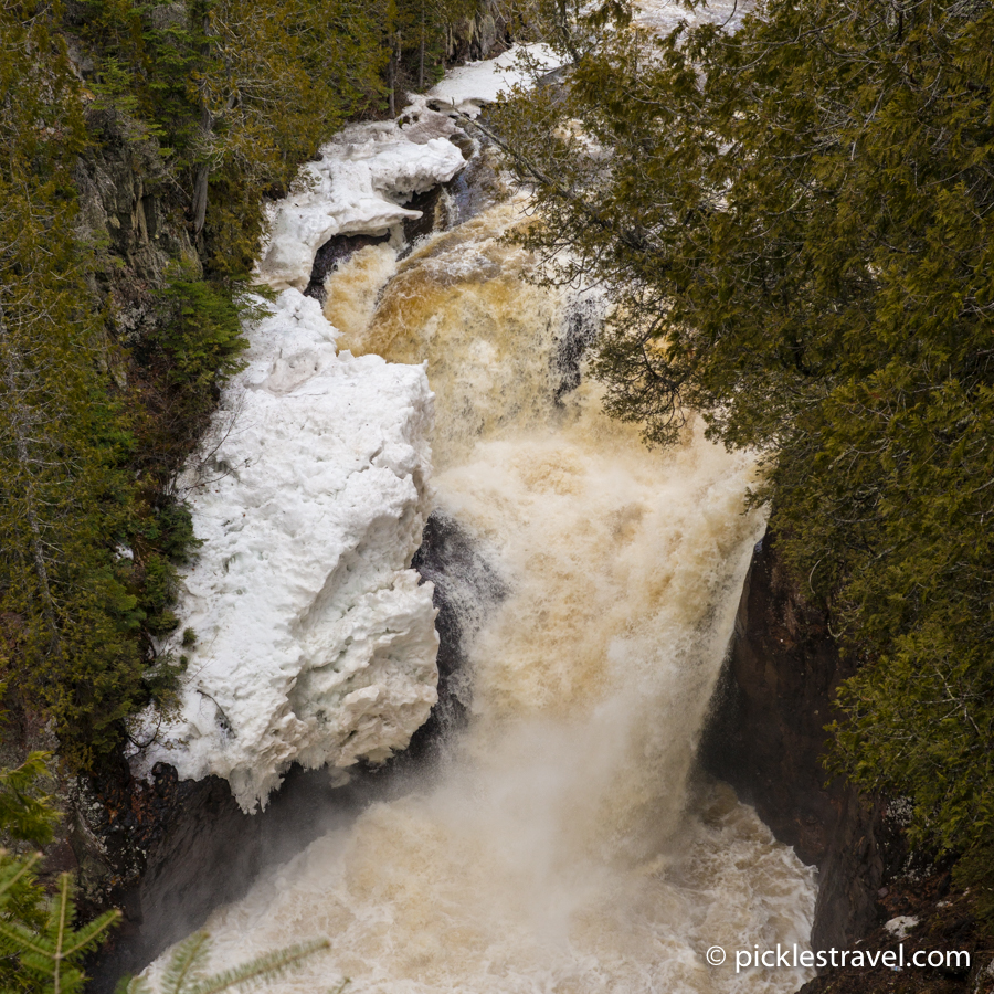 Devil's Kettle Waterfalls in winter at Judge C.R. Magney State Park