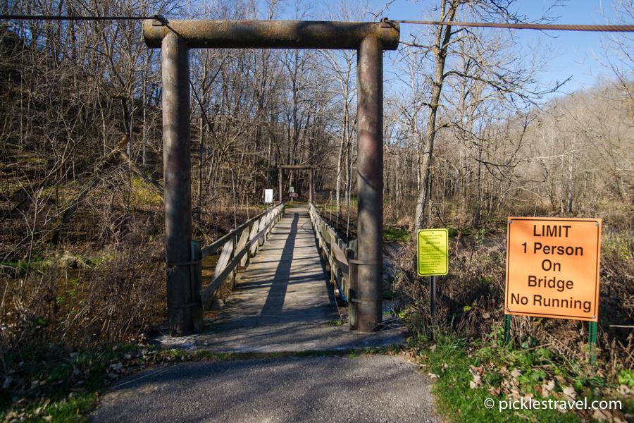 Wire bridge at Beaver Creek Valley state park