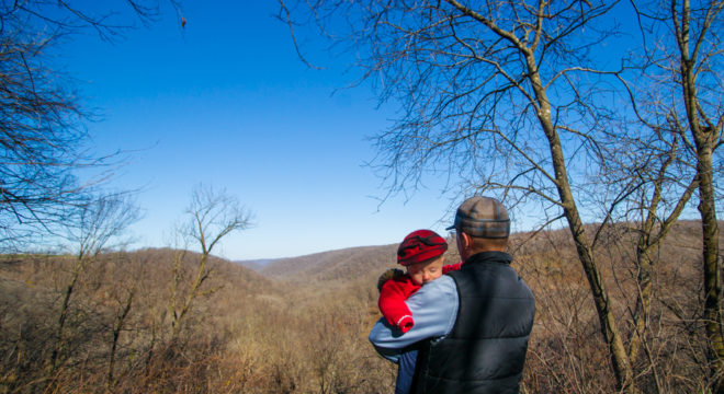 Kid Friendly Overlook at Beaver Creek Valley state park for families on the Switchback Trail