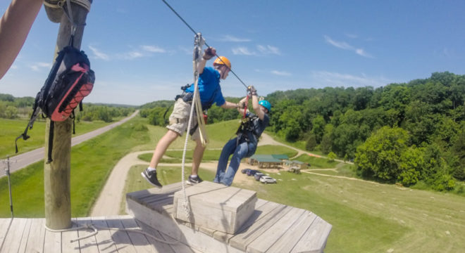 Zip line outdoor adventure for the novice