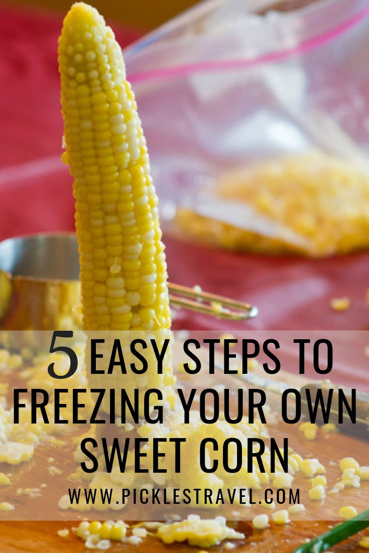 5 Easy Steps for freezing your own sweet corn and preserving the harvest for fresh healthy vegetables all winter long #vegan #eatlocal